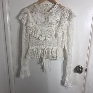 Zimmermann Allia Crochet Knit Victorian Blouse